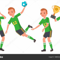 Handball Male Player Vector. In Action. Throws Ball In Jump. Poses. Attack Figure. Cartoon Character Illustration
